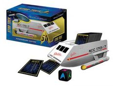 TRIVIAL PURSUIT: STAR TREK 50TH ANNIVERSARY EDITION! Boldly celebrate 50 years of Star Trek when you answer 1,200 questions from all 5 Star Trek television shows and the first 10 Star Trek movies. Categories include: Crew Members, Locations, Starfleet, Aliens, Ships and Science & Technology. The cards and die store inside a collectible Shuttlecraft case! #starttrek #trivia #goboldly