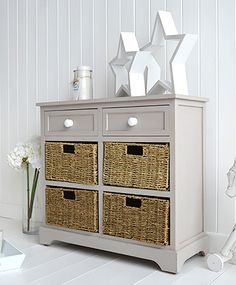 The Oxford Grey Sideboard With Baskets And Drawers For Storage
