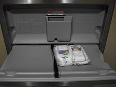 leaving fresh diapers and wipes in a restroom changing table