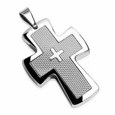 316L Stainless Steel Cross Pendant with Smaller Cross in Middle