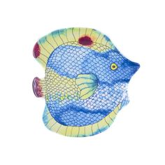 Encore Concepts Handmade Swimmingly Fish Blue 4-piece Assorted Salad Plates