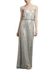 "<meta charset=""utf-8""> <h5>Stylist Notes</h5> <p><span>This dress is really elegant and makes you look taller with the long details. Blouse over is an added bonus too. -Shannon</span></p> <h5>Description</h5> <ul> <li>Donna MorganCourtney</li> <li>Fulllength bridesmaid dress</li> <li>Vneckline</li> <li>Spaghetti straps with blouson bodice</li> <li>Naturalwaist with a-line skirt</li> <li>Sequined</li> </ul>"