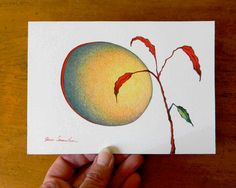 Red Moon Red Leaf  Original Nature Drawing by artofjane on Etsy, $20.00