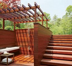 steps integrate with horizontal slat wall... elegantly simple overhead structure... outdoor shower or spa area