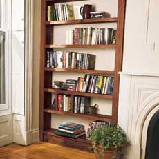 How to Build a Bookcase. Fill a nook and display tomes and tchotchkes with easy-to-assemble built-ins.