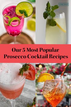 All the Prosecco #cocktails on our list can make for #easy #brunch cocktails, and can also be a means to elevate the simple (yet delicious) #sparkling wine. Plus, these five recipes are by far VinePair's most searched, sought after, and replicated #Prosecco cocktails, so you know they're sure to be #crowd-pleasers. Cocktail List, Cocktail Recipes, Refreshing Drinks, Fun Drinks, Champagne Fountain, Pink Treats, Peach Puree, Prosecco Cocktails, Sparkling Wine