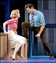 """Kelli O'Hara as Babe, the labor committee head, and Harry Connick Jr. as Sid, the superintendent, in """"The Pajama Game. Broadway Posters, Broadway Nyc, Broadway Shows, New York Times Arts, Ny Times, Kelli O'hara, The Pajama Game, Game Costumes, Costume Ideas"""