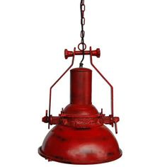 Big industrial hanging lamp in the factory red color - Creations by Lis