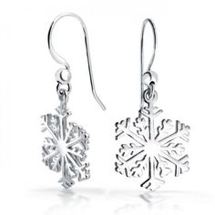 Classic Dangle Snowflake Polished Finish .925 Sterling Silver Earrings