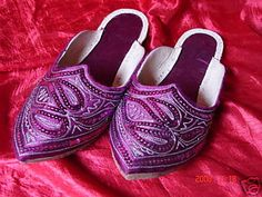 Purple Beaded and Embroidered Indian slippers