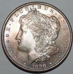 1890-S $1 Morgan Silver Dollar-MS / Uncirculated-Free USA Shipping-Warm Toning