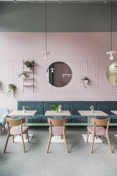 Poznańska Wypiekarnia Cake Shop Interior, Coffee Shop Interior Design, Coffee Shop Design, Restaurant Interior Design, Interior Design Inspiration, Cake Shop Design, Bakery Design, Cafe Design, Café Restaurant