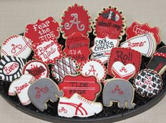 Alabama Football Cookies, Alabama, Football Cookies, College Football, Elephants, University of Alabama on Etsy, $30.00