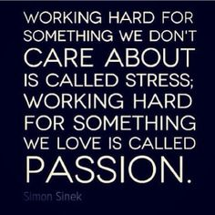 """Working hard for something we don't care about is called stress; working hard for something we love is called passion."" (Simon Sinek)"