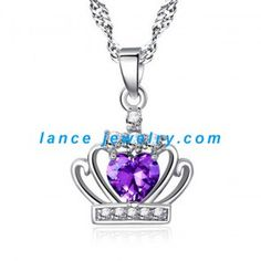 Crystal Princess Purple Diamond Crown Pendant Necklaces