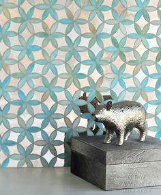 New Ravenna Mosaics Fiona in Aquamarine Jewel Glass and Dusk Mirror. Interior Design Magazine Best of Year Awards Finalist.