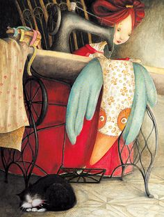 TinyRed: Valeria Docampo Sewing my bird with my kitty by my side
