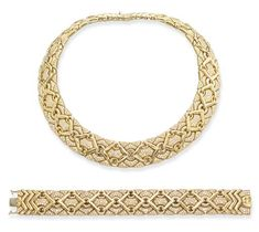 A GOLD AND DIAMOND 'TRIKA' NECKLACE AND BRACELET, BY BULGARI   Each of geometric design, with pavé-set brilliant-cut diamond panels, mounted in 18k yellow gold, necklace 35 cm long, bracelet 17.5 cm long  Signed Bulgari