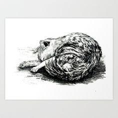 Schlafende Katze.Sleeping cat. Art Print by Birgit - $12.48