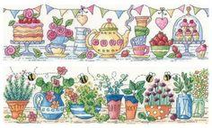 Afternoon Tea & Herb Garden cross stitch Set - Heritage Crafts