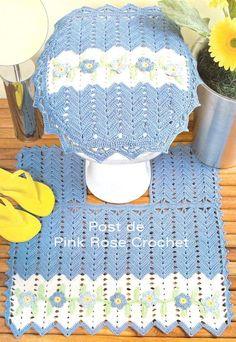 Jgo banheiro azul com flores