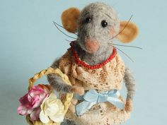 Needle felted Mouse with miniature basket and roses. Mouse in the boots. Lady mouse. Dollhouse mouse. Felting dreams. Gift. Ornament. Rodent by OlgaHappyHandmades on Etsy