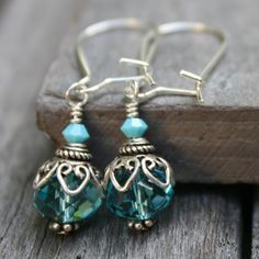 Turquoise Crystal Earrings Sterling Silver by ChristineC on Etsy, $22.00