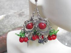 Hand Crafted Cherry Earrings Rockabilly Jewelry with Red Lampwork Glass Cherries, Black Dice, Pewter Revolvers and Sterling Hooks. by MelancholyMind, on Etsy $14.99