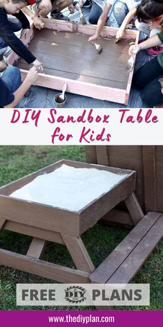 Sand is one of the very best nature-made toys. Almost every child enjoys playing in the sand. But finding a good sandbox for you child could be sometimes challenging or expensive. So I decided to create plans on how to build a DIY Sandbox Table for kids to have fun. #table #diytable #diytutorial #sandtable #farmhouse #entryway #diyinspiration #kidsproject #easydiyproject #freeplans Diy Furniture Plans, Diy Furniture Projects, Diy Home Decor Projects, Outdoor Projects, Diy Craft Projects, Diy And Crafts, Sand Table, Sandbox, Diy Table