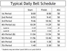 high school schedules 7 period days | class periods highly regulated time and a 180 day calendar