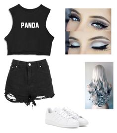 """""""Panda queen by kittyshoya my friend"""" by laylamin ❤ liked on Polyvore featuring adidas"""