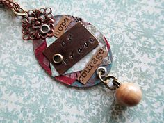 Be Brave Mixed Media Metal Necklace Beaded by LittleBitsOFaith, $50.00