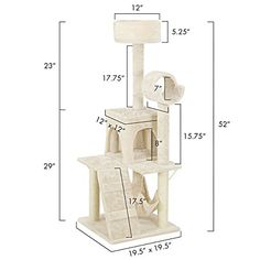 Overwhelming Modern 52 Cat Tree Furniture Tunnel Hideout Scratching Posts Scratcher Tower Color Beige with Hammock *** Visit the image link more details.(This is an Amazon affiliate link)