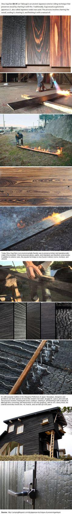 técnica japonesa de preservar, madera antigüedades
