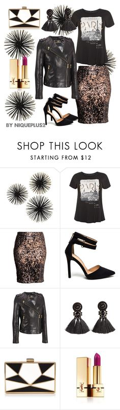 """""""+Look: Edgy Night Out with Bold Lips"""" by niqueplus on Polyvore featuring H&M, Wilsons Leather, La Regale, Yves Saint Laurent and plus size clothing"""
