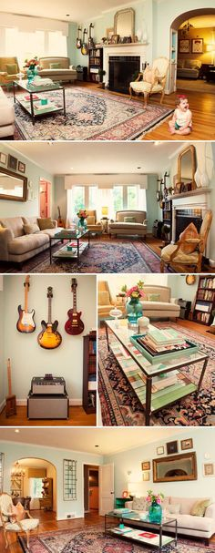 this home is guitar and baby friendly.  a child's nursery that i actually would love as my own bedroom.