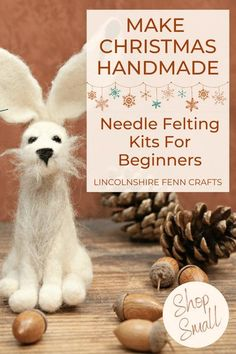 Beat the winter blues and add some creative respite to your day with a delightful winter hare needle felting kit. Perfect for all seasons and a great craft kit to start your needle felting journey. £17.45 including UK postage. Worldwide shipping. #lincolnshirefenncrafts Creative Christmas Gifts, Homemade Christmas Gifts, Creative Gifts, Handmade Christmas, Holiday Crafts, Christmas Decor, Craft Kits, Craft Ideas, Decor Ideas