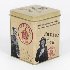 Ration Tea tin ... contains one week's WWII UK loose tea ration from 1940, decorated with Official Paid duty stamp and photos of service personnel drinking tea / from Imperial War Museum souvenir shop, London, UK