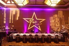 Love the #gobos and #monogram to celebrate a #birthday! Plus the great #purple #uplighting! #RentMyWedding #partyideas #eventinspiration #DIY