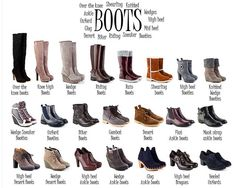 A visual glossary of bootsMore Visual Glossaries (for Her): Backpacks / Bags / Beads / Bobby Pins / Boots / Bra Types / Belt knots / Chain Types / Coats / Collars / Darts / Dress Shapes / Dress Silhouettes / Eyeglass frames / Eyeliner Strokes / Hairstyles / Hangers / Harem Pants / Hats / Heels / Jackets & Coats / Lingerie / Nail shapes / Necklaces / Necklines / Pants / Patterns (Part1) / Patterns (Part 2) / Plaid / Pleats / Puffy Sleeves / Scarf Knots / Shoes I / Shoes II / Shorts / Silh...