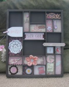Baby Girl Printers Tray - Custom Photo Display.  Contact me at https://www.etsy.com/shop/Scrapbooker429