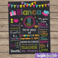 Fist Day of School Back To School Chalkboard by ConfettiGraphics, $20.00