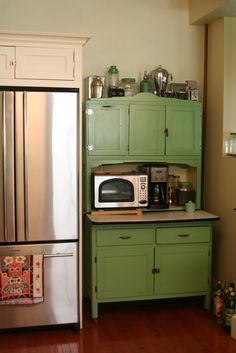 old: antique cupboard (not green TU); new: stainless appliances!
