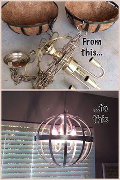 Hanging wire baskets/brass chandelier fixture/silver metallic spray paint = homemade chandelier