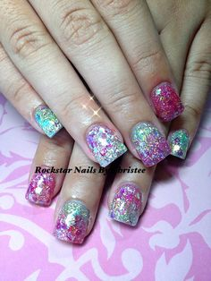 Rockstar acrylic nails_by_Christee with glitter fade design