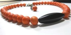 Necklace Dyed Wood Beads with Horn Focal Bead by TrudyAnnDesigns, $18.00