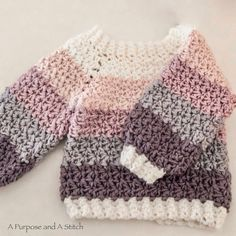 El's Top-down Sweater- Free Crochet Pattern A Purpose and A Stitch Crochet Toddler Sweater, Crochet Baby Sweater Pattern, Crochet Baby Jacket, Crochet Baby Sweaters, Baby Sweater Patterns, Bag Crochet, Crochet Baby Clothes, Crochet For Kids, Baby Patterns