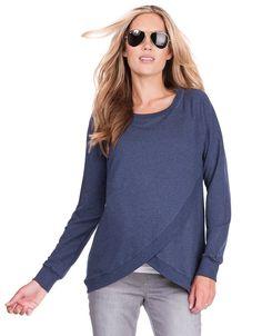 Blue Marl Crossover Maternity & Nursing Sweater | Seraphine