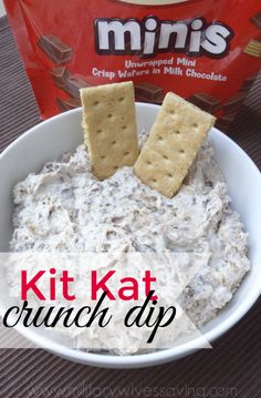 This Kit Kat Crunch Dip is a delicious dessert worth digging into with graham cr., Desserts, This Kit Kat Crunch Dip is a delicious dessert worth digging into with graham crackers, vanilla wafers, or even chocolate chip cookies! Dessert Dips, Köstliche Desserts, Dessert Cheese Ball, Tailgate Desserts, Cool Whip Desserts, Dessert Food, Yummy Treats, Sweet Treats, Yummy Food