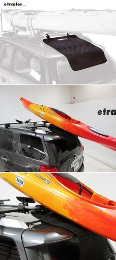 Easy to clean and stow, this rubber mat attaches to the back of your vehicle and protects paint from damage when you are loading a kayak onto your roof. Top of mat is slippery to assist in easy loading, and bottom is tacky to cling to your vehicle and prevent slipping.